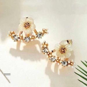 NEW! 3/$30 White Daffodil Double Swing Earrings